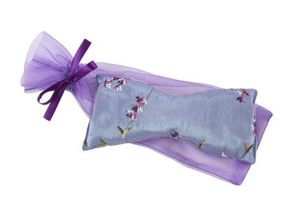 Lavender Eye Pillow in Lilac Embroidered Satin