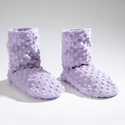Lavender Spa Booties in Classic Lilac Dot Fabric