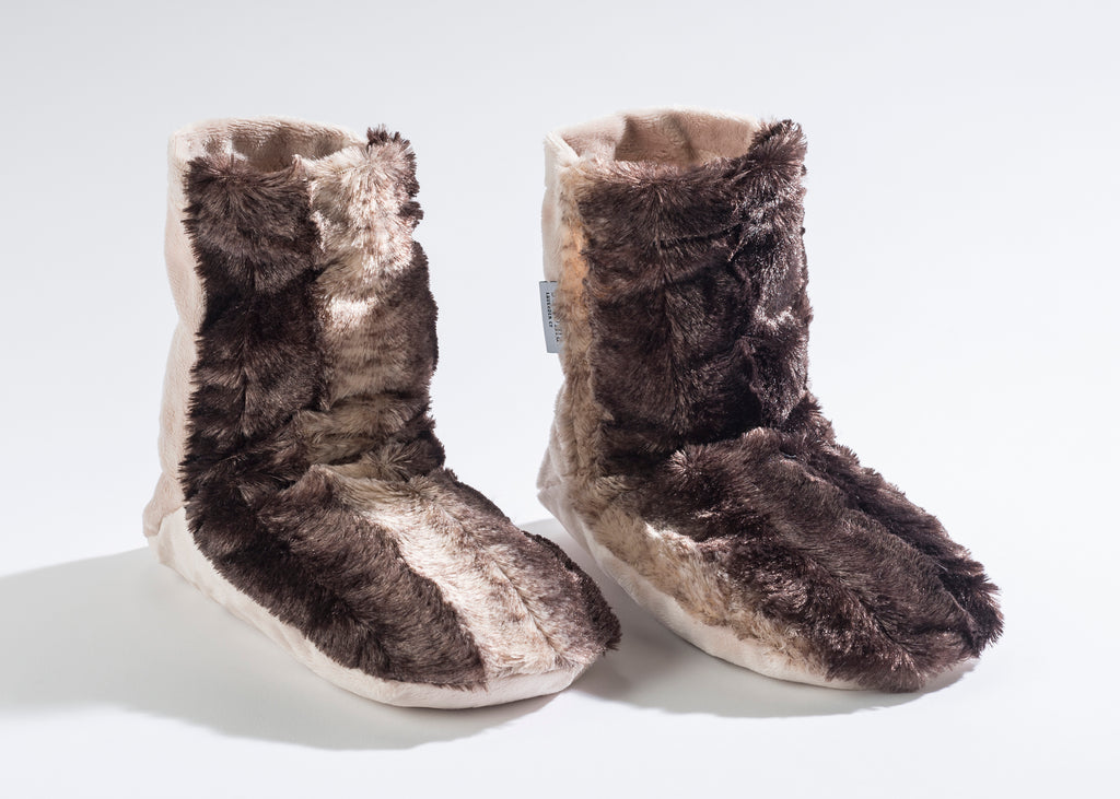 Lavender Booties in Luxurious Faux Chinchilla Fur