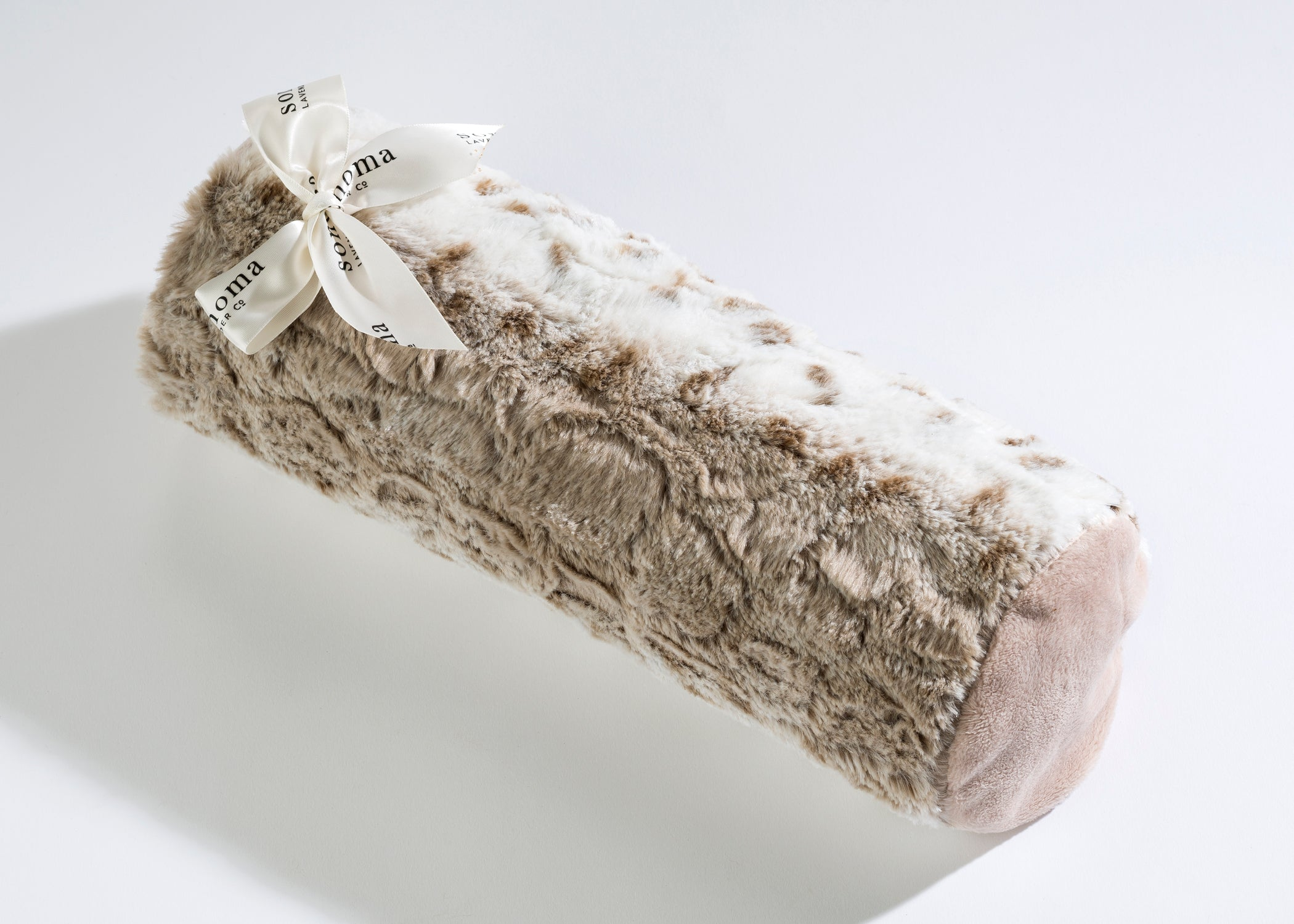 Lavender Spa Bolster Roll in Arctic Circle Faux Fur