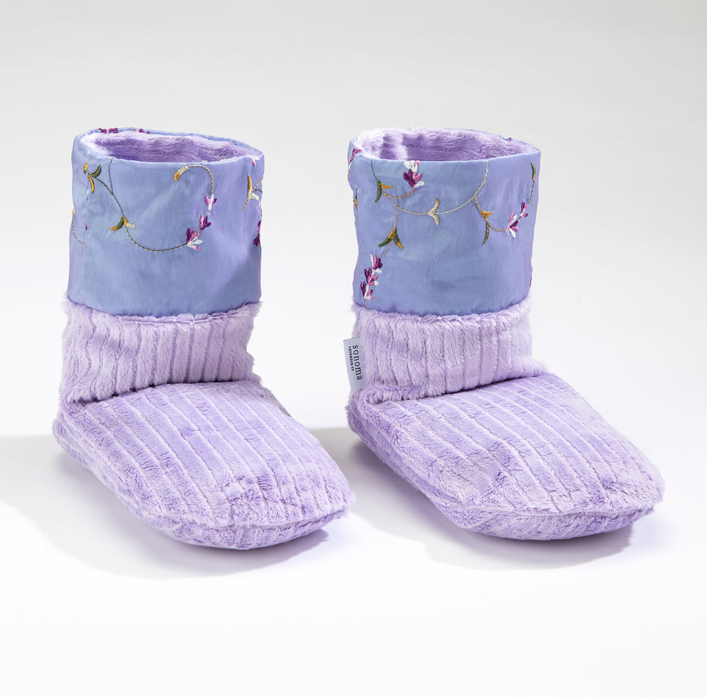 Lavender Spa Booties with Embroidered Lilac Cuffs