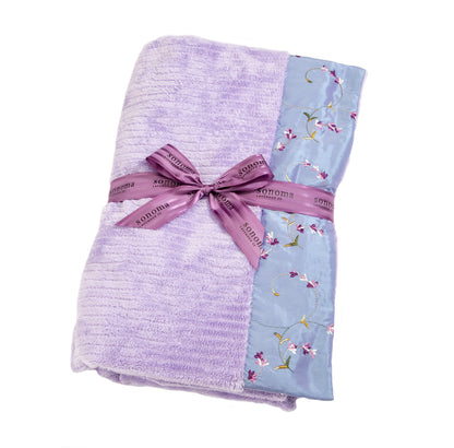 Lavender Spa Blankie with Embroidered Lilac Cuffs