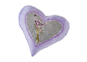 "Lavender Heart Pillow of 9"" in Embroidered Silk"