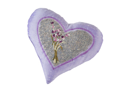Embroidered Lavender Heart Pillow in Pure Silk Dupioni