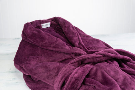 Ultra-Luxe Soft & Cozy Plush Shawl Robe in Rich Plum