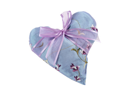 Lavender Heart Sachet in Embroidered Satin Fabric