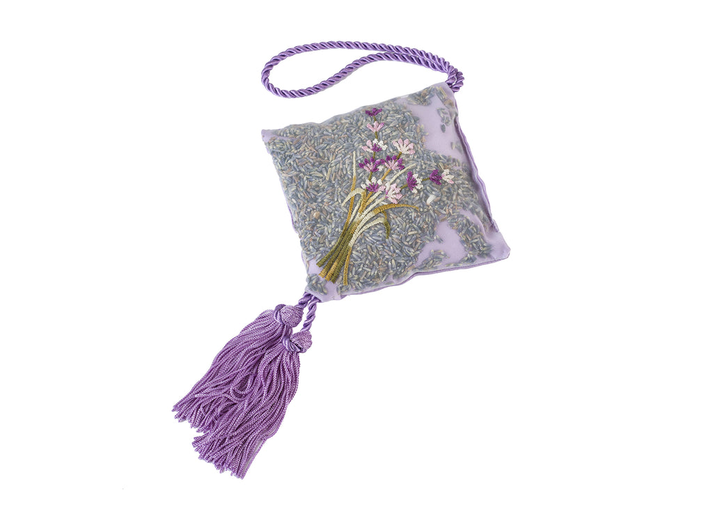 Lavender Hanging Sachet in Embroidered Satin