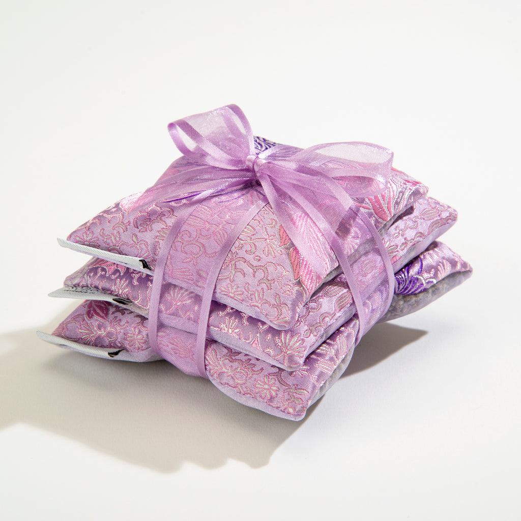 Lavender Sachet Trio in Chrysanthemum Brocade