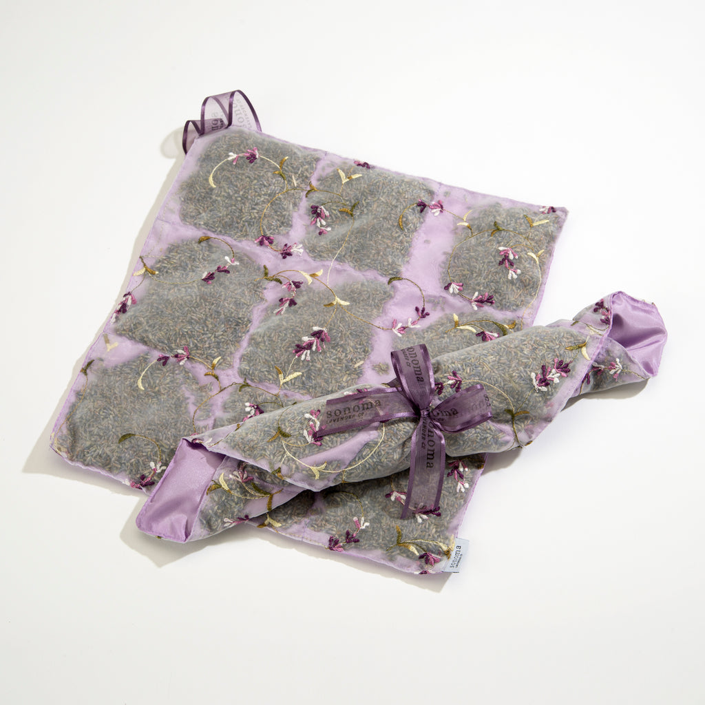 Lavender Drawer Liner Sachet back in Embroidered Lilac Satin