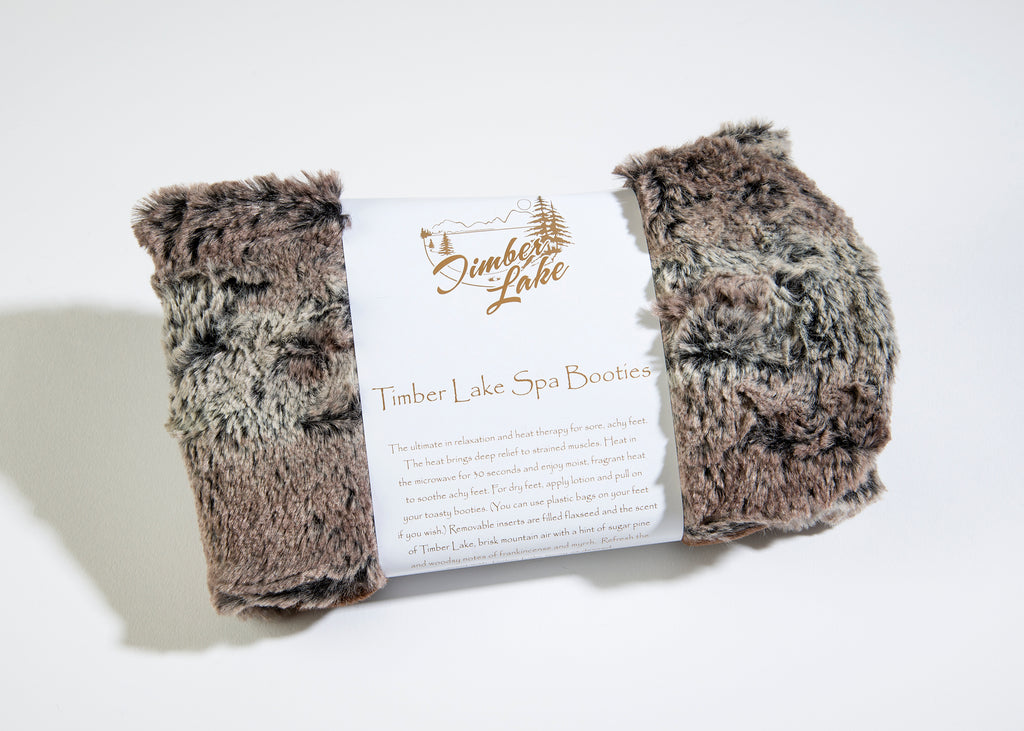 Timber Lake Spa Booties in Woodland Faux Fur