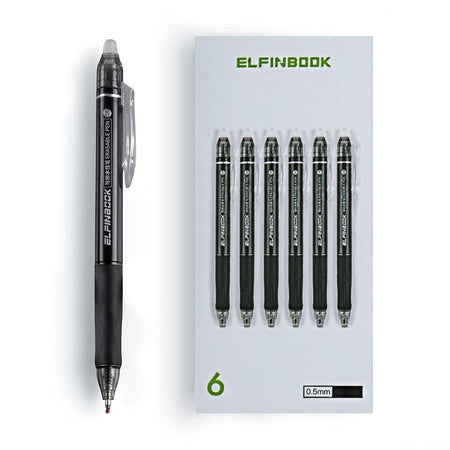 6Pcs/Set ElfinBook Erasable Ballpoint Pen - 0.5mm Black Ink