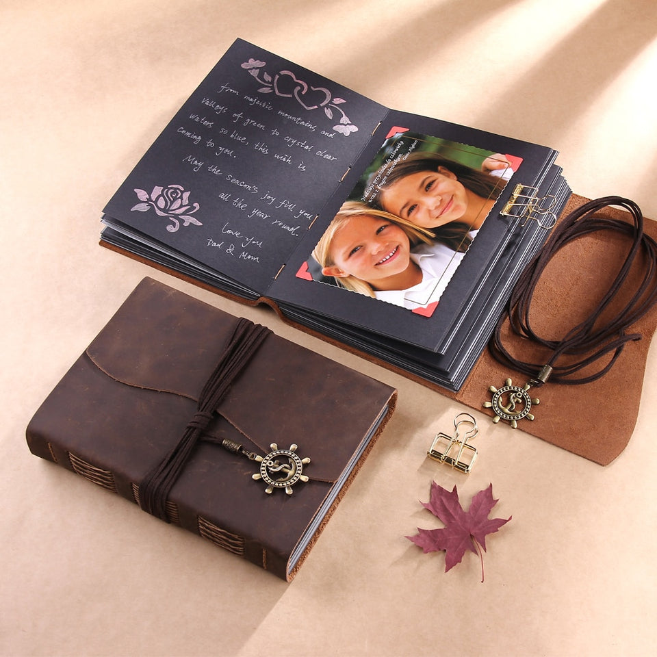 Rustic Handmade Leather Scrapbook Photo Album