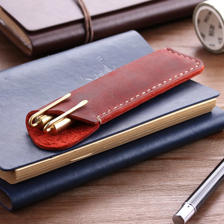 Antique Handmade Genuine Leather Pen Bag