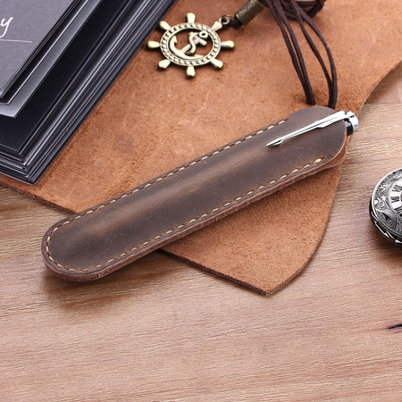 Handmade Vintage Genuine Leather Pen Holder