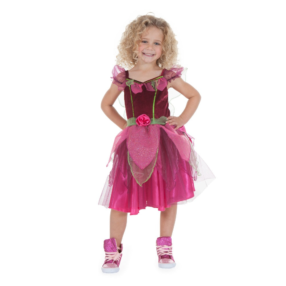 Pretty fuchsia pink fairy dress with soft petal leaves and green fairy wings
