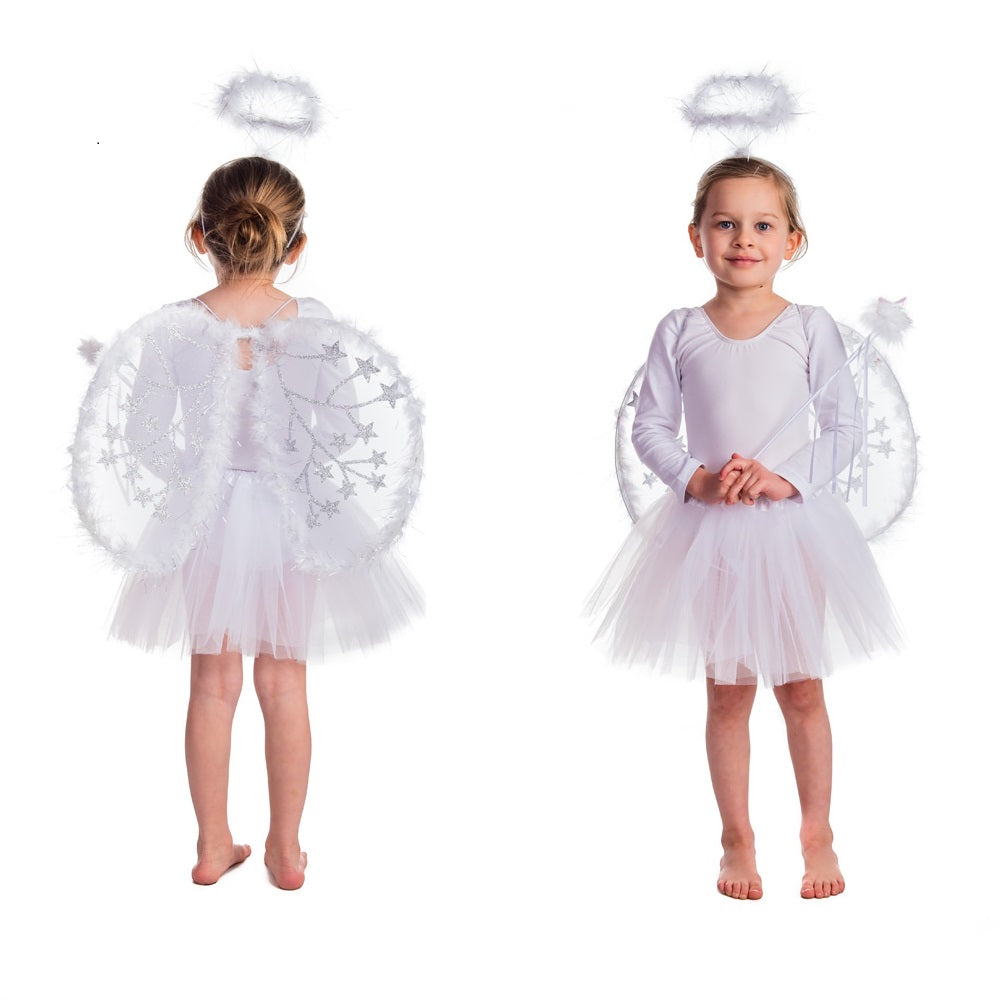 Grisl wearing 4 piece set with wand, large wings, halo and tutu