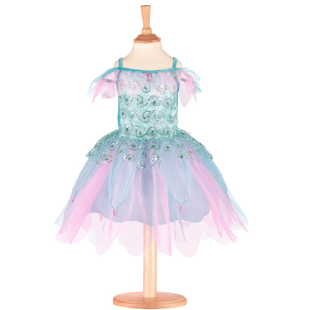 Pretty aqua blue and pink fairy costume on a mannequin