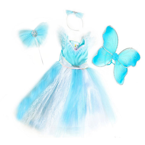 Aqua Frozen Fairy dress up set with wand, headband and wings