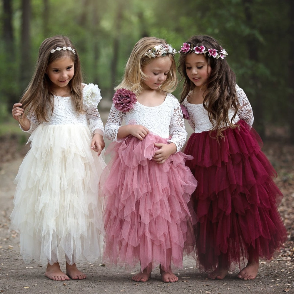Girls in a park wearing bohemian style party dress