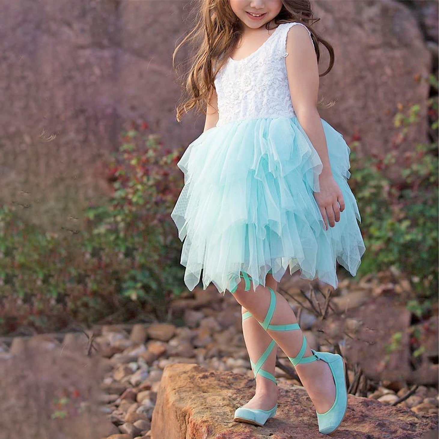 Boho Dreams Flower Girl Dress with MInt coloured tulle