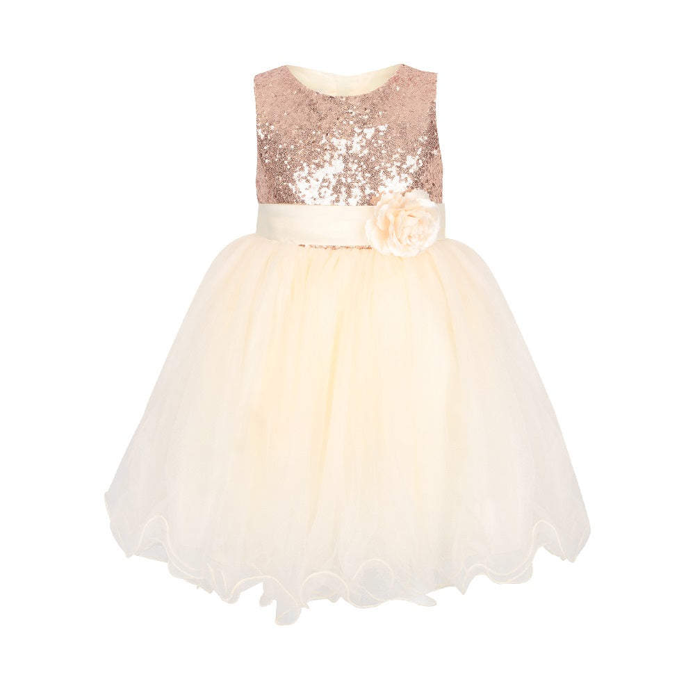 girls soft vanilla cream party dress with gold sequin bodice