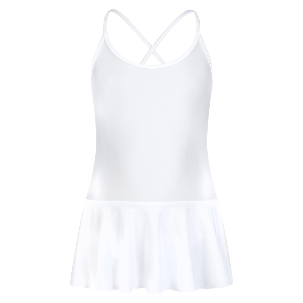 White skater style skirted leotard
