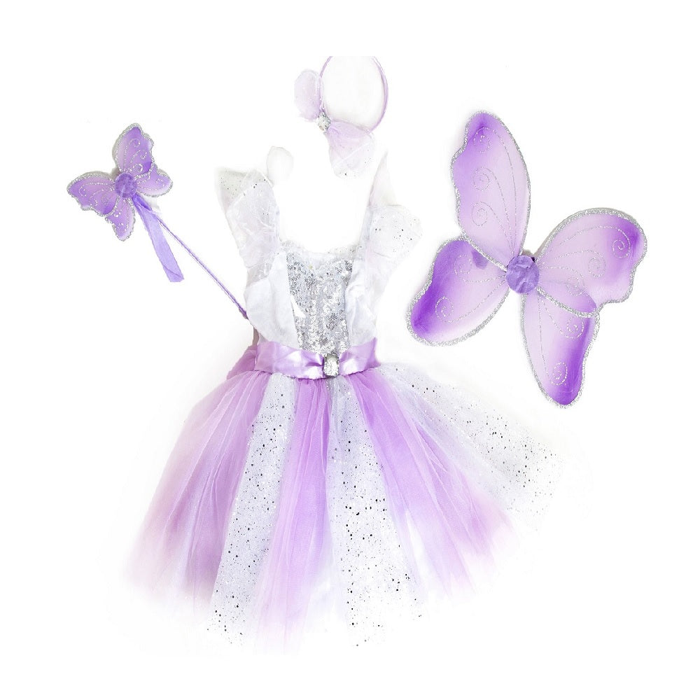 Two tone white and lilac sparkle long fairy dress with wings, wand and headband