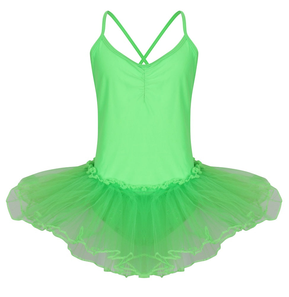 Neon girls strappy leotard with tulle tutu attached