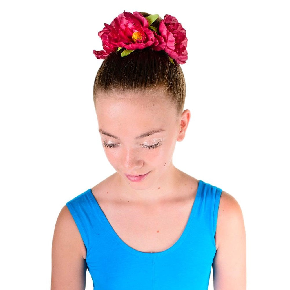 girl wearing a Bohemian floral headband in her hair