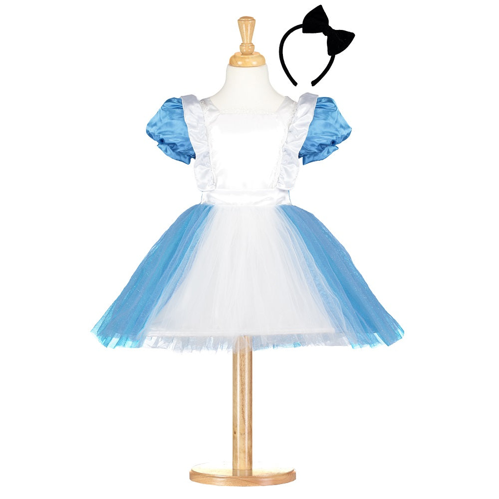 satin and tulle Ablue and white dress, with headband