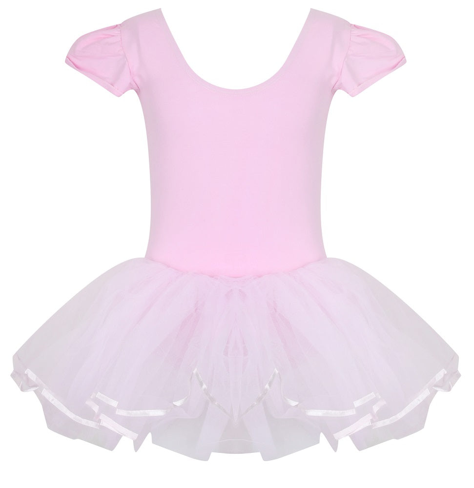 Quality baby pink ballerina leotard, with three layer tulle tutu attached
