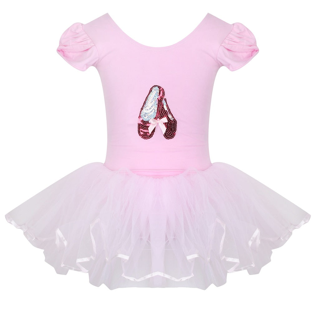 Sequin Slippers Tutu Leotard - Pink / Silver