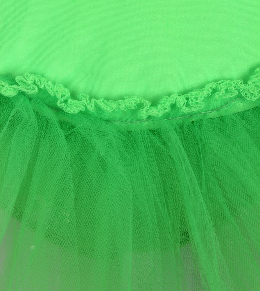 Green spandex leotard with tulle attached