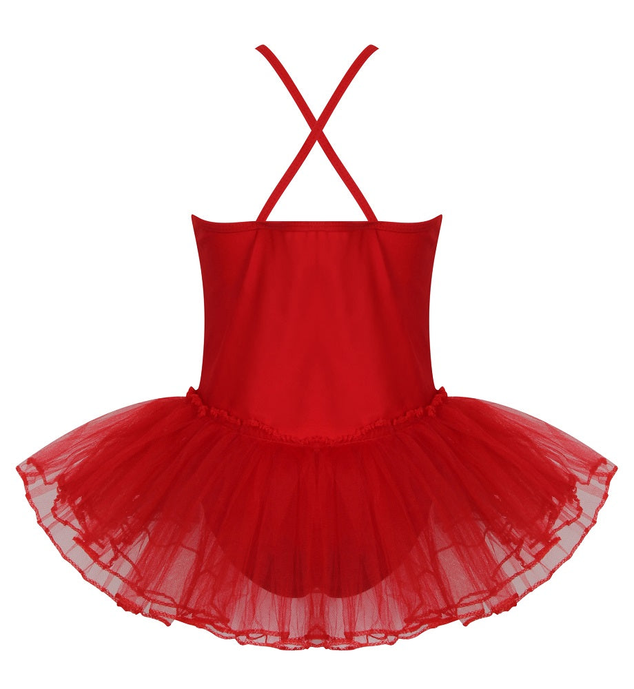 girls red strappy leotard with tulle tutu attached