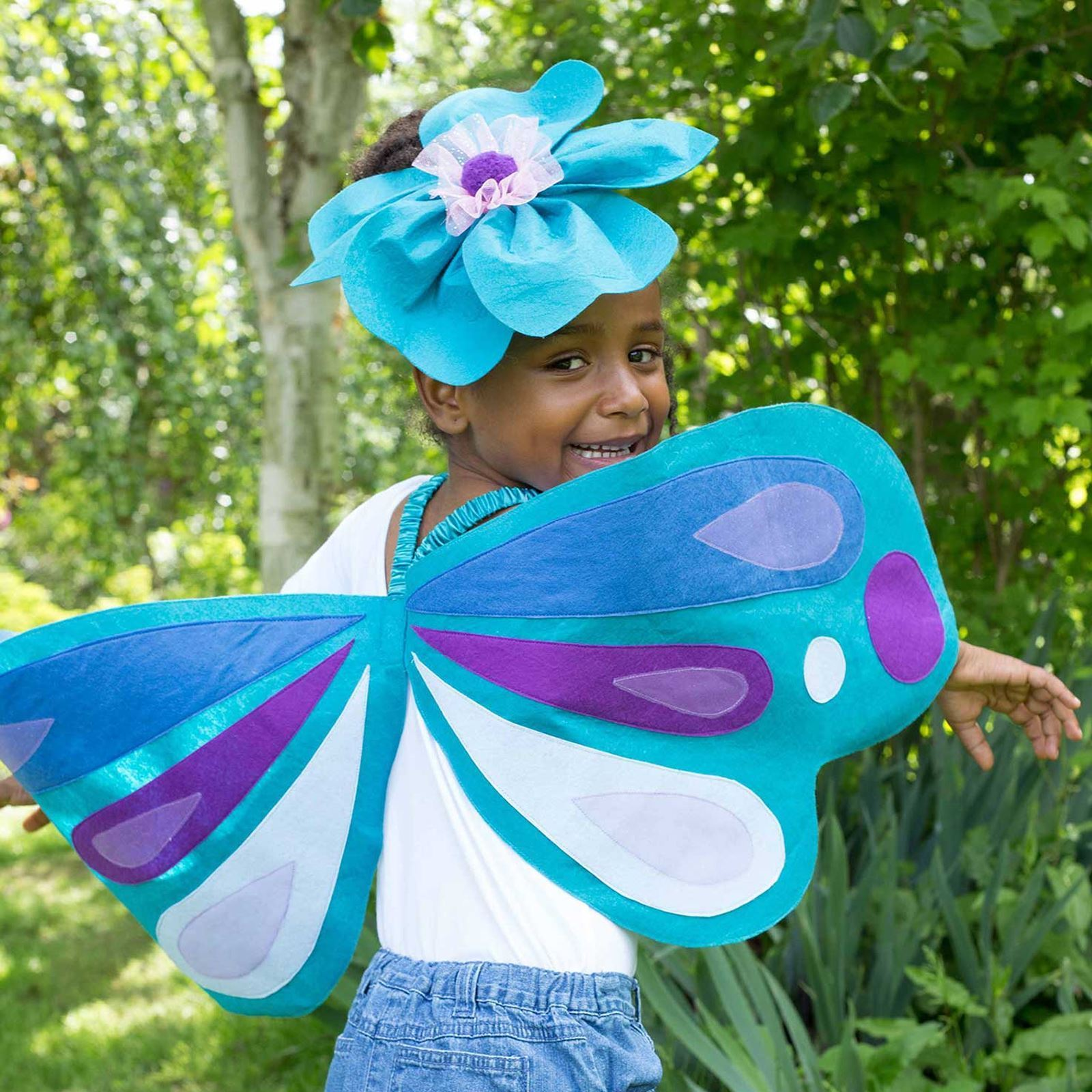 Girl wearing Blue Oversized Felt Wings
