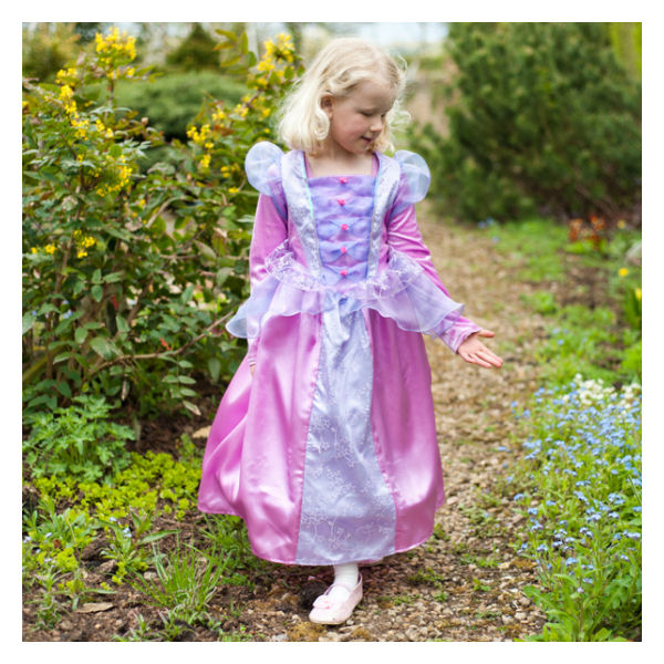girl wearing dusky pink and lilac princess costume dress