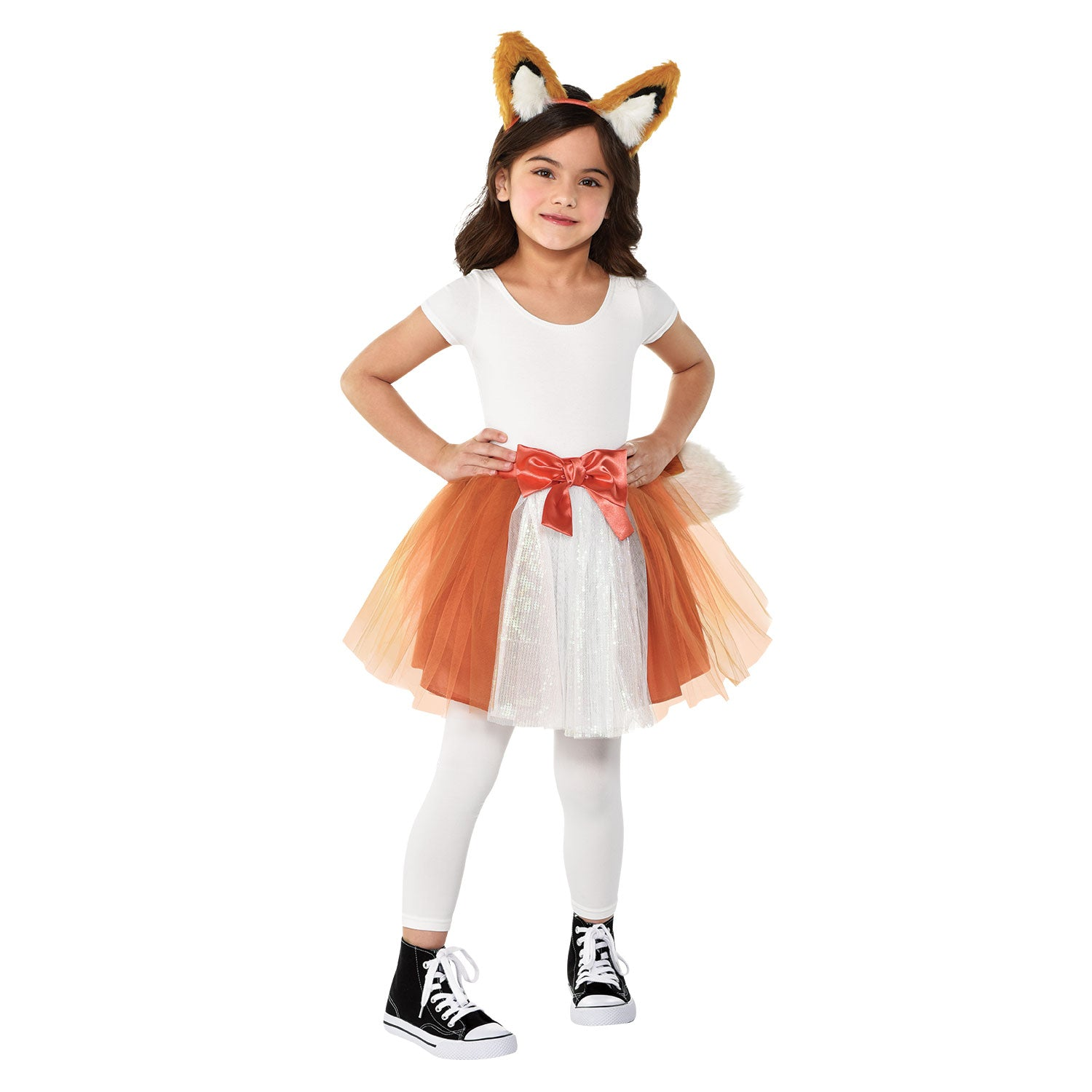 Girl in a fox outfit with a brown tutu and furry ear headband