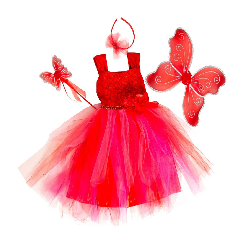 red fairy costume with rosebud bodice and layered net skirt.  Fairy wand, wings, wand and headband.Vibrant red fairy dress with rosebud bodice, layered skirt and matching accessories