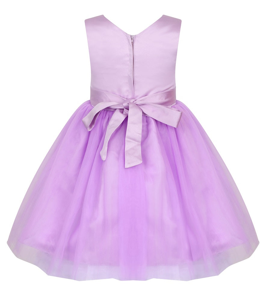 lilac girls party dress with bow on back