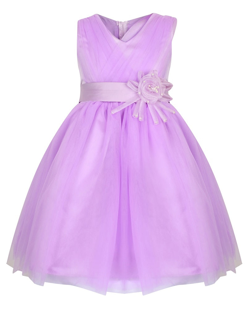 lilac girls party dress with waist sash