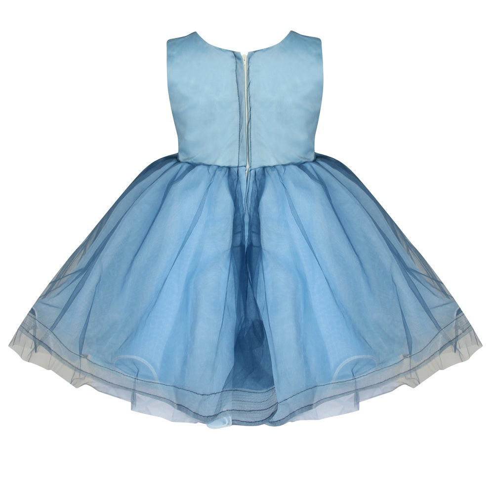little multi toned blue embroidered princess dress