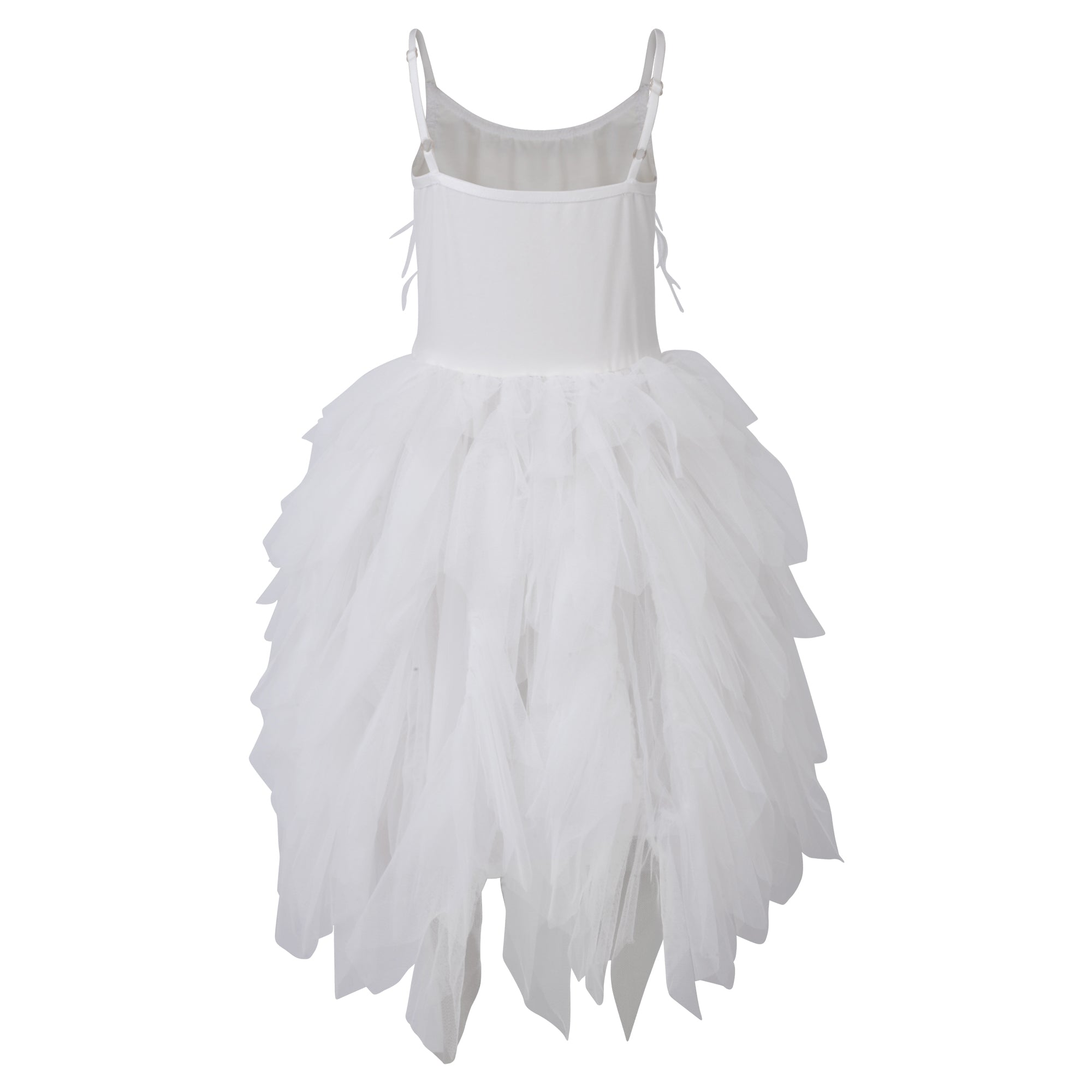 Girls white Frilly and Feathers Dress