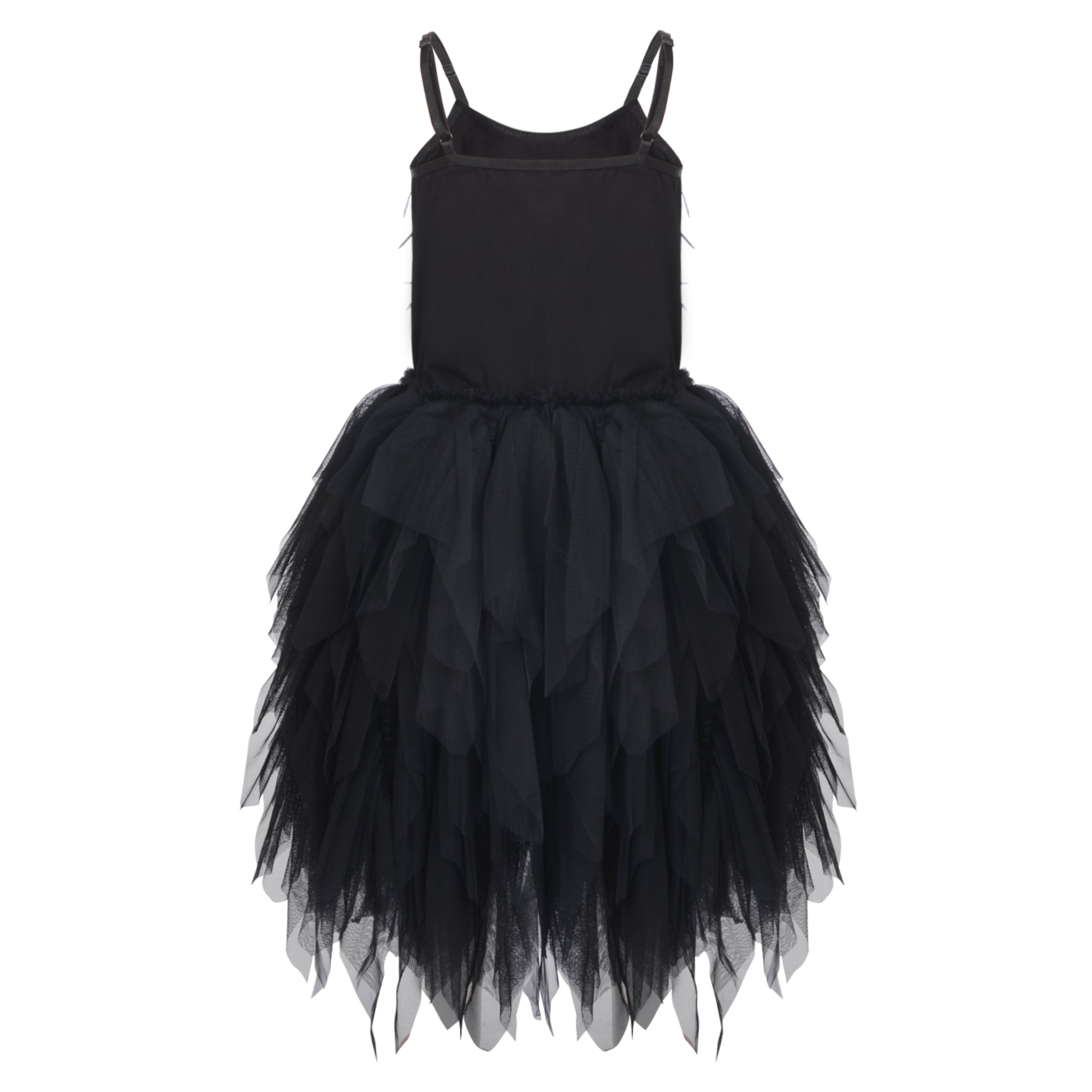 Girls black Frilly and Feathers Dress