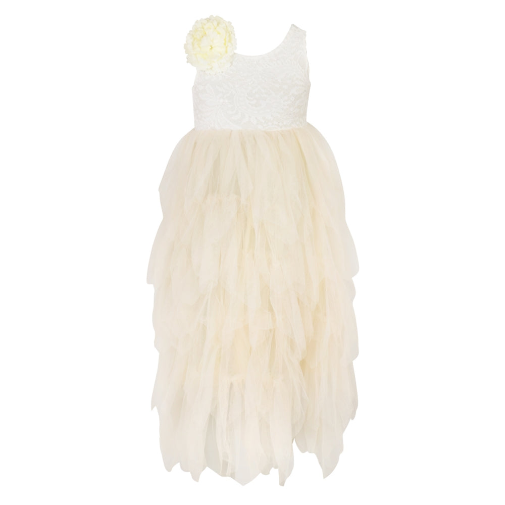 Ivory lace and tulle flower girl dress.