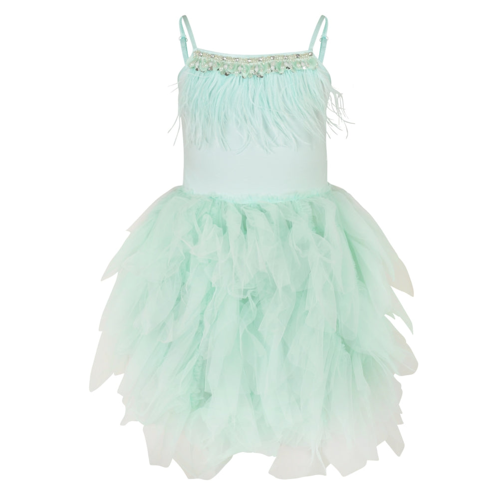 Mint coloured ballerina style party dress with feathers and frills
