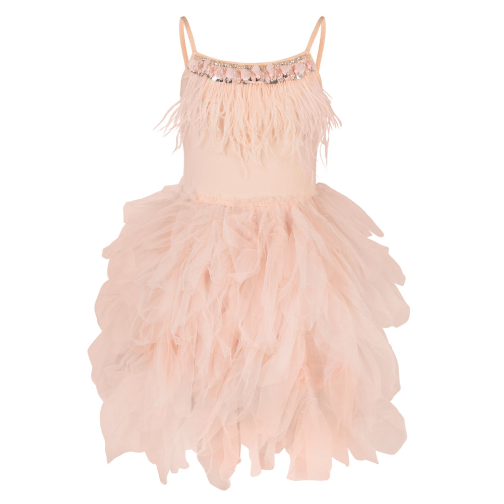 girls pink ballerina style party dress with feathers and frills