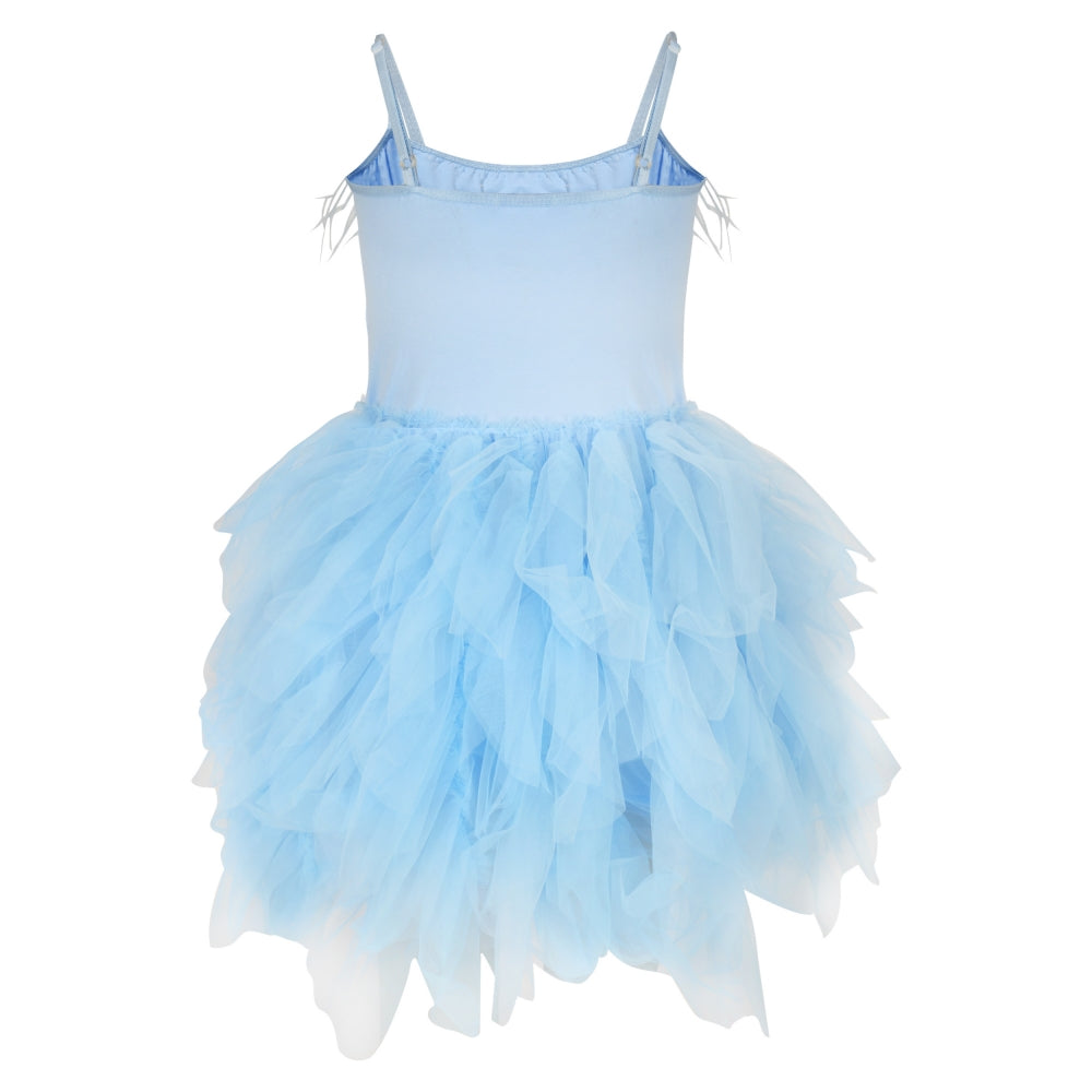 Blue Ballerina party dress with  feathers and frill
