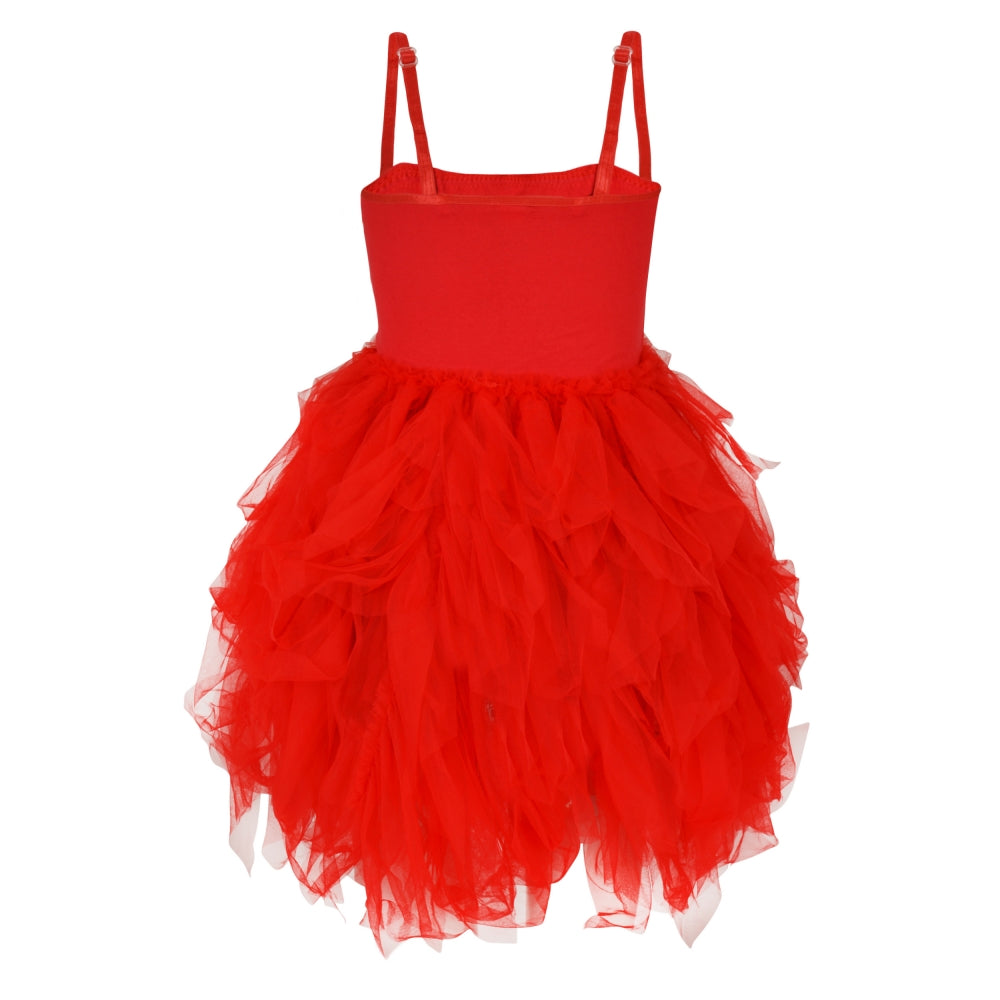 Girls red Frilly and Feathers Dress