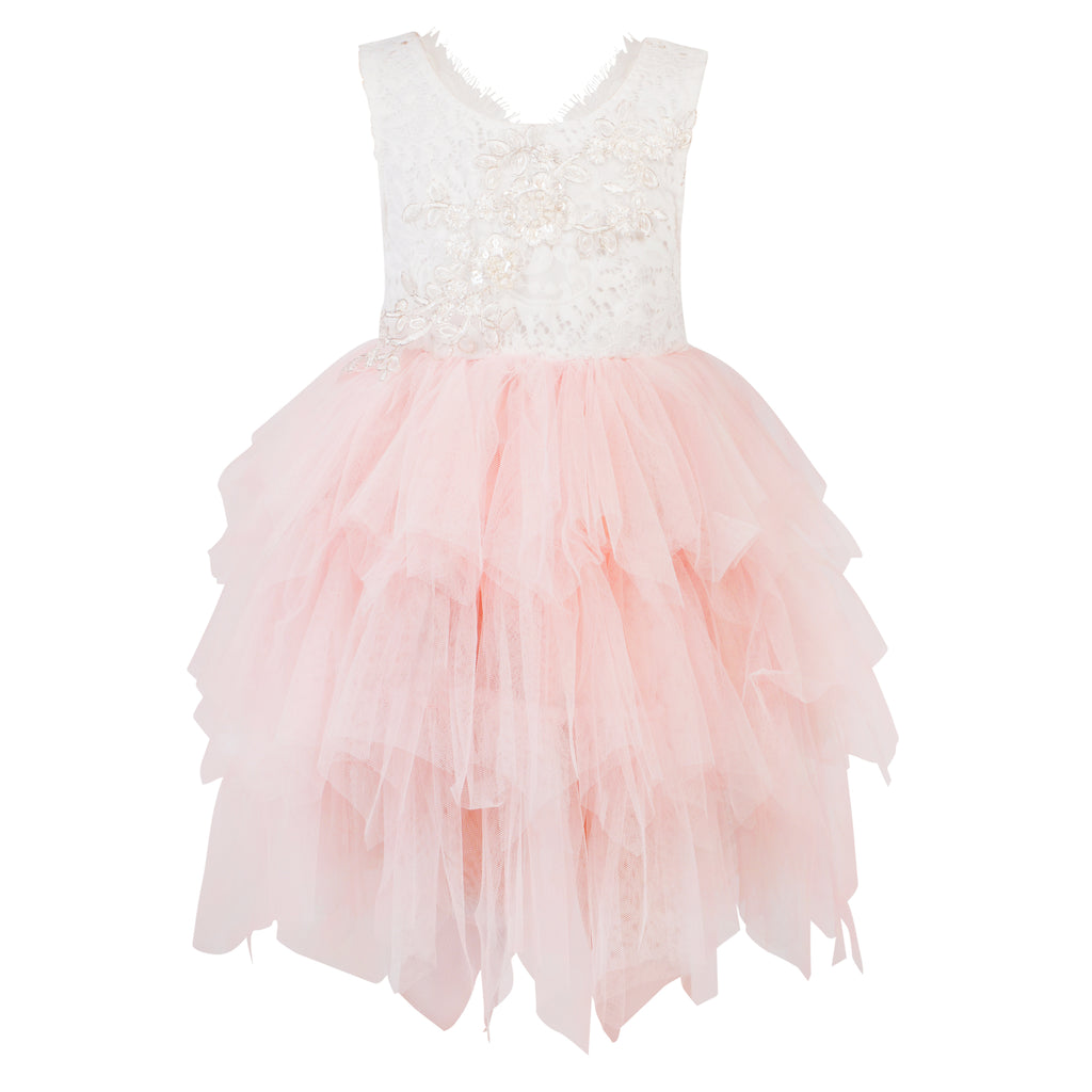 Boho Dreams Pink Flower Girl Dress with lace and tulle