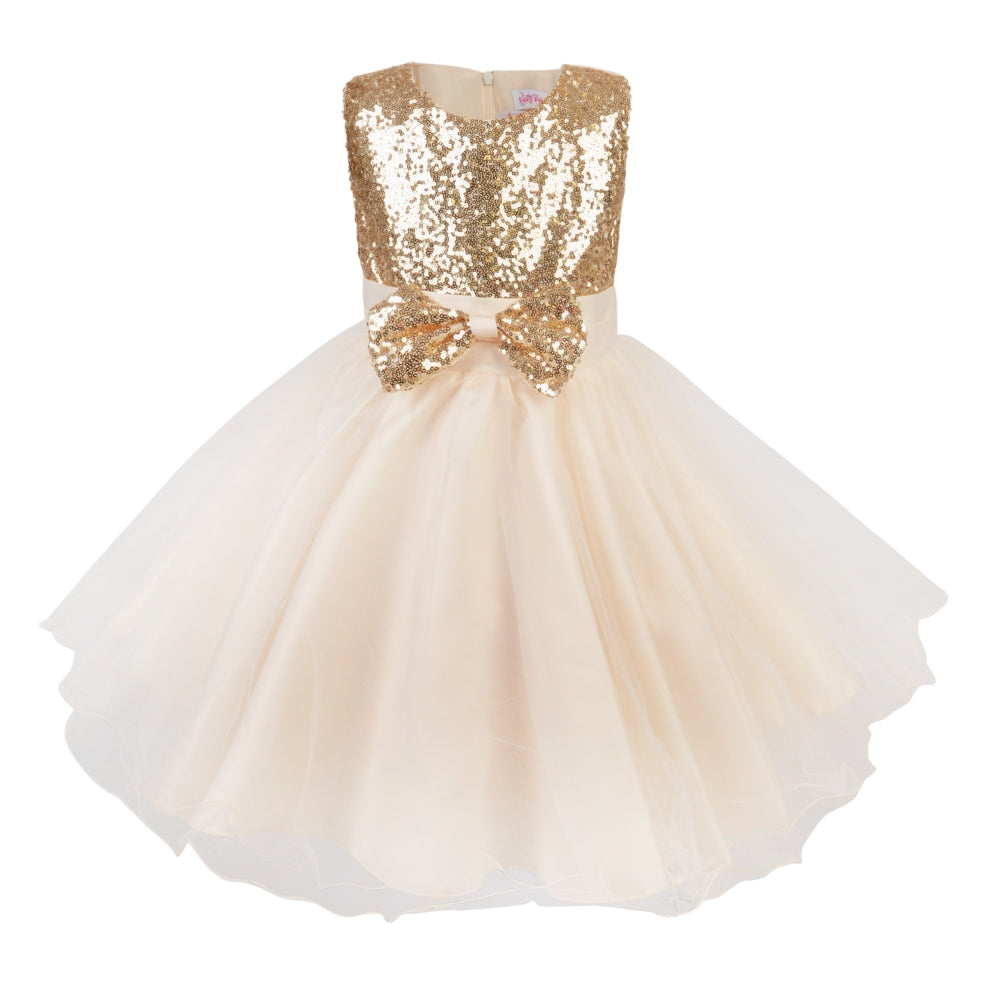 Girls Champagne tulle and gold sequin occasion dress